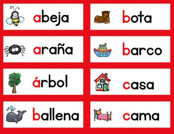 Need a Spanish Alphabet Word Wall? Look no more. These Spanish Word Wall Vocabulary Cards follow the Gomez and Gomez Dual Language Program color coding, red for Spanish. These Spanish Alphabet Vocabulary cards are perfect for your word walls, content walls, abc centers, writing centers, bilingual literacy centers.