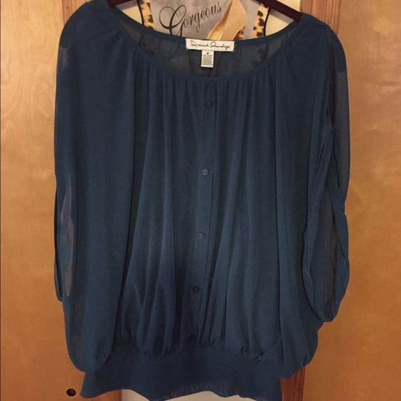 SHEER DRESS BLOUSE Gorgeous dark teal sheer dress blouse. Has an attached cami inside (great feature). Front button detail. Banded waist. Size M. Only Worn a few times. In excellent condition. Tops Blouses