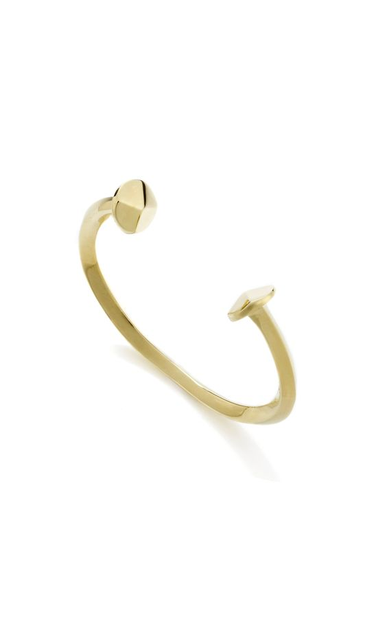 So very now. Brass double nail cuff.