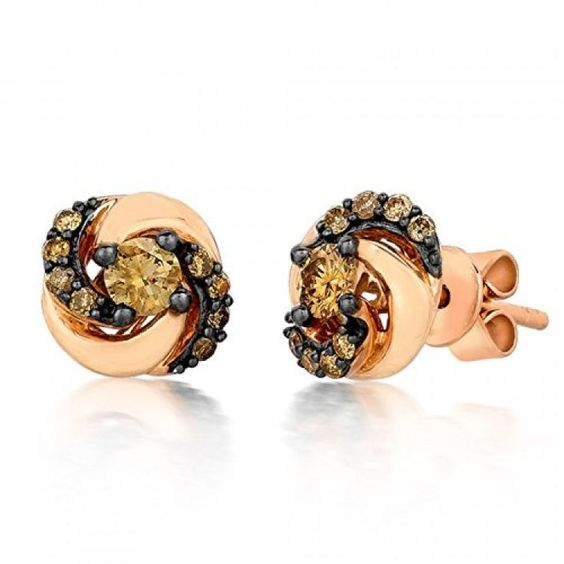 LeVian Petite 0.46 Ct Sinuous Swirl Chocolate Diamond Swirl Stud Earrings in 14K Rose Gold . Available at http://www.Brandinia.com