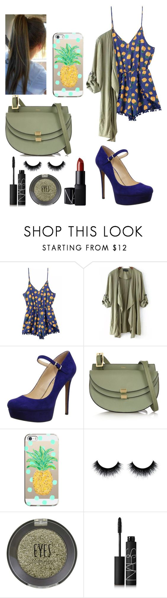 """""""Going to by shoes"""" by sindimaloku ❤ liked on Polyvore featuring Jessica Simpson, Chloé, Casetify, Topshop and NARS Cosmetics"""