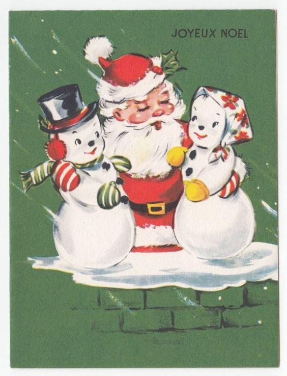 Vintage Greeting Card Christmas Santa Claus Hugging Mr & Mrs Snowman