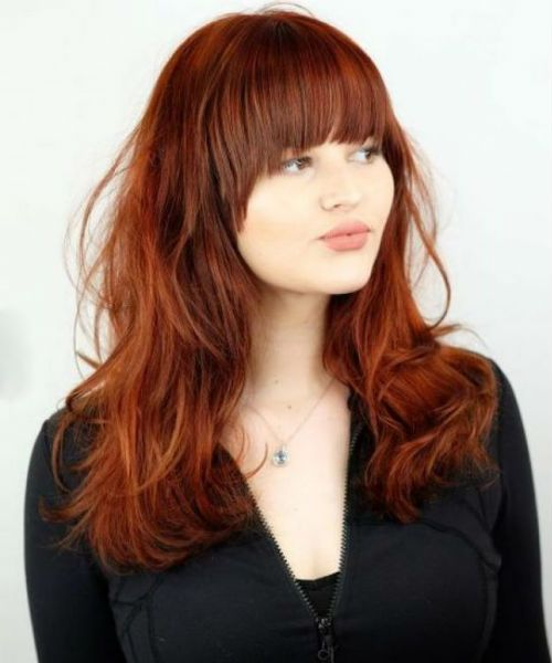 Top 11 Flattering Full Fringe Long Red Hairstyles For Women To Look Perfect In 2020 Long Shag Haircut Thick Hair Styles Hairdo For Long Hair