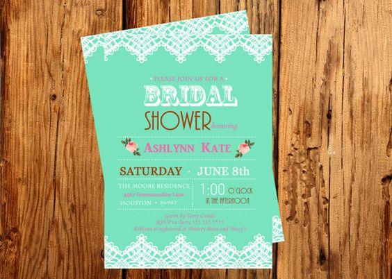 Printable Bridal Shower Invitation Mint Bridal by sassnlaughs, $18.00