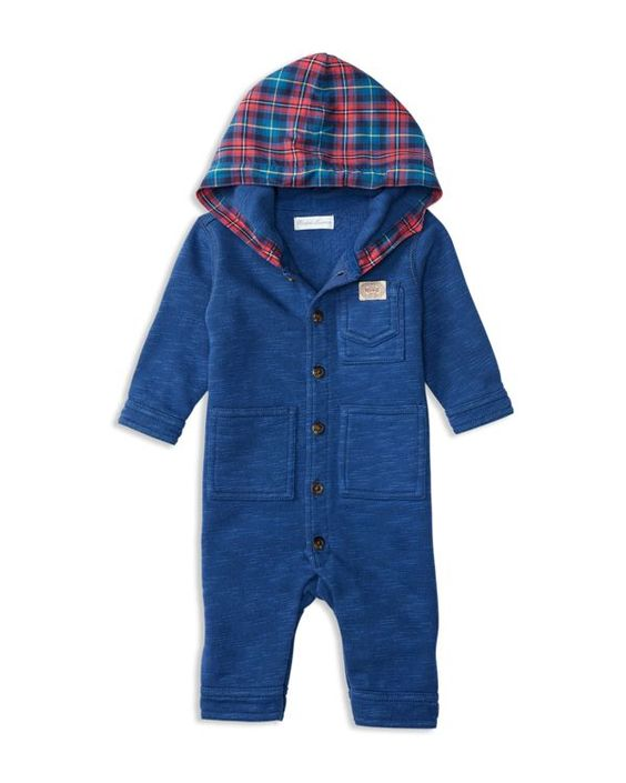 In cozy fleece, this coverall from Ralph Lauren features a plaid twill hood and…