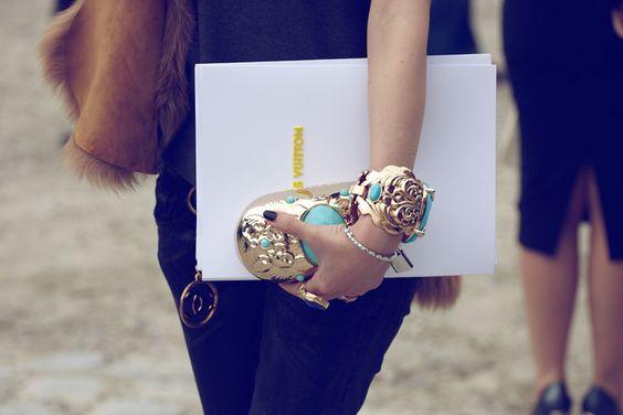 black/fur/gold/turquoise