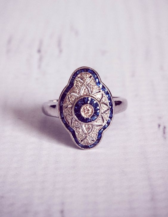 1920's Style Sapphire & Diamond Engagement Ring