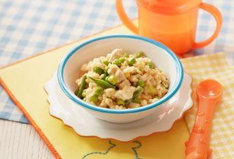 Chicken and pea paella