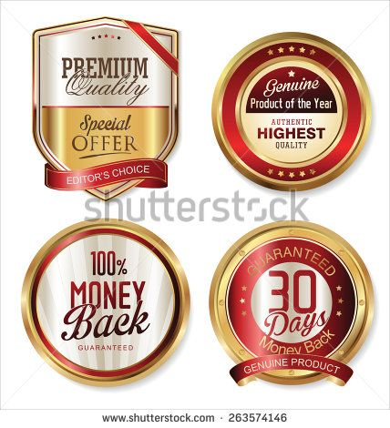 Premium quality golden labels - stock vector
