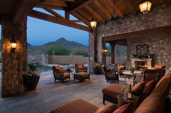 Luxurious  patio // Rustic Silverleaf Parks Estate - Luxury Calvis Wyant Homes