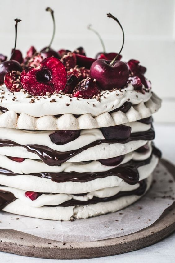 chocolate & cherry meringue cake: