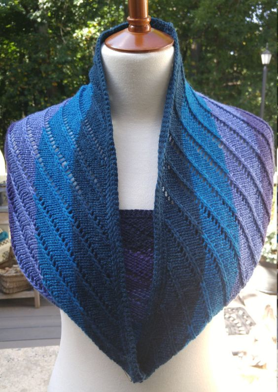 Cloud-soft Merino Alpaca Spiral Lace Infinity Scarf/Cowl in Purples and Blues by…