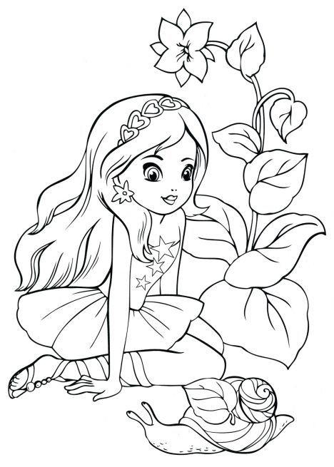 Раскраска. Девочка в саду