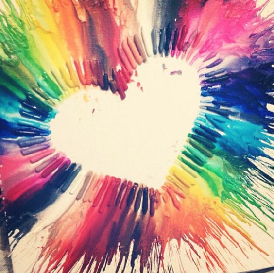 Crayon melting heart. Colorful gift!