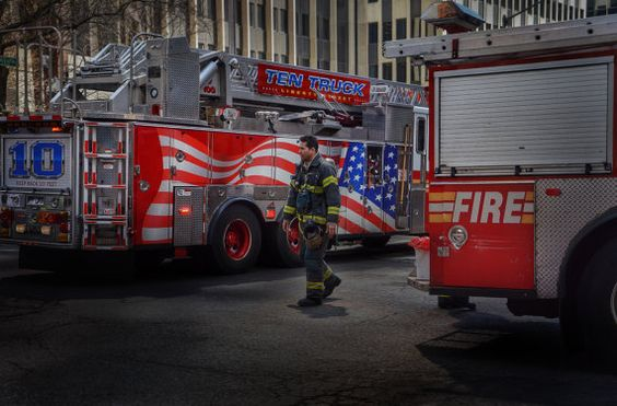 FDNY Fireman Oil Painting fire fighter fire truck by ReburnDesigns