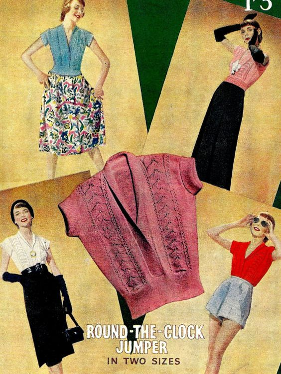 1940s or 50s Surplice Jumper Sweater - Knit PDF pattern  6327