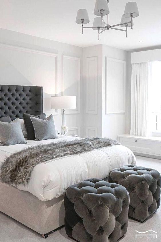 White Grey Bedroom Idea Master Bedroom Design Minimalist Master