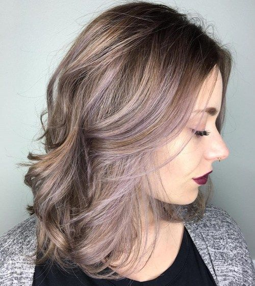 brown hair with ash blonde and pastel purple balayage