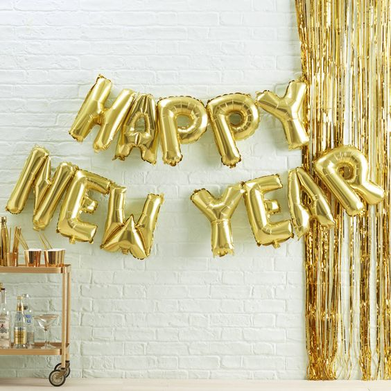 Gold Happy New Year Balloon Bunting - Ginger Ray - Cordially Invited