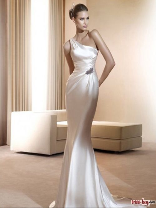 Charming One Shoulder Sheath/Column Beading Sweep Train Elastic Woven Satin Informal Wedding Dresses