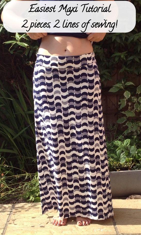 DIY maxi using only 2 sewing lines! http://bigboolittleboo.wordpress.com/tutorials/easiest-jersey-maxi-skirt-tutorial/