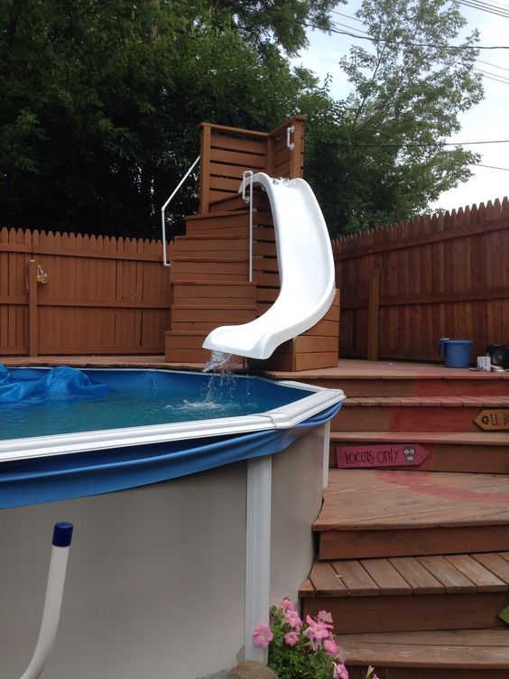 i bet mommy will use that more then the kids haha pool side life pinterest pool slides - Diy Above Ground Pool Slide