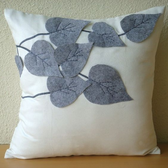 Decorative Throw Pillow Covers Accent Couch Sofa Pillow 16x16 Inches White Suede Pillow with Grey Felt Embroidered Winter Leaves Home Decor