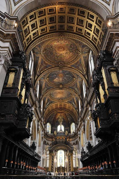 Wren's beautiful Cathedral...An interior view of St.Paul's Cathedral in London...  Today's cathedral, the fourth to occupy the site, was designed by the court architect Sir Christopher Wren and built between 1675 and 1710 after its predecessor was destroyed in the Great Fire of London in 1666...  From...  http://www.telegraph.co.uk/news/picturegalleries/royalty/8590016/The-Queen-and-the-Duke-of-Edinburgh-visit-St-Pauls-Cathedral-and-Downing-Street.html?image=6#