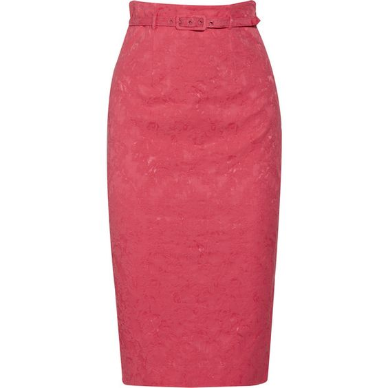 Discount Catherine Malandrino Silk-jacquard belted pencil skirt|... (4.300 ARS) ❤ liked on Polyvore featuring skirts, catherine malandrino, silk pencil skirt, jacquard skirt, belted pencil skirt, red skirt and catherine malandrino skirt