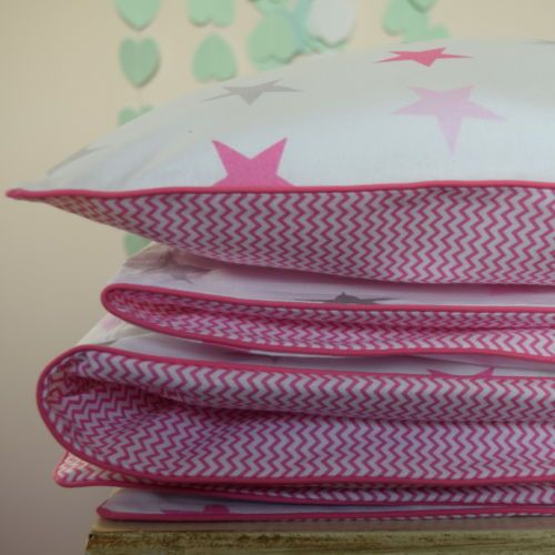 100-COTTON-Cot-Bed-Duvet-Cover-Set-Girls-Grey-Pink-Stars-Mini-Chevron-piping