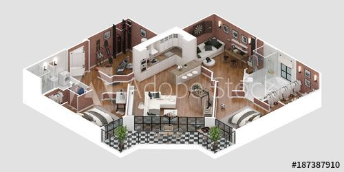 Floor Plan Of A House Top View 3d Illustration Open Concept Living Apartment Layout 3d Rendering Apartment Balco Apartment Layout House Illustration House