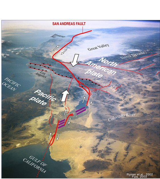 The San Andreas Fault super-imposed over the California landscape seen in a shuttle photo.<br />