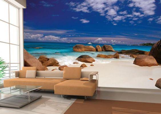 Maak van uw woonkamer slaapkamer gang kantoor of etalage een strand dit foto realistisch - Maak een gang ...