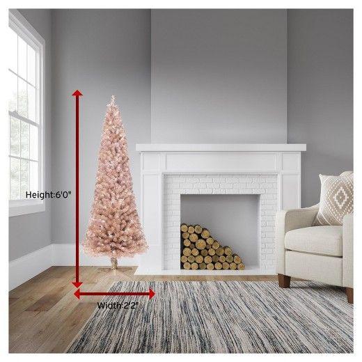 6ft Prelit Artificial Christmas Tree Rose Gold Slim Alberta Clear Lights Wonde Slim Artificial Christmas Trees Christmas Tree Roses Artificial Christmas Tree