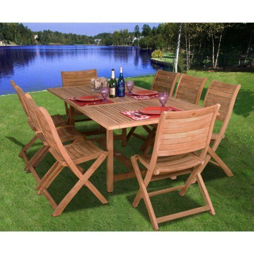Amazonia teak dublin rectangular extendable 9 piece patio dining set by international home miami - Garden furniture dublin ...