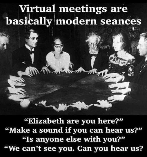 Online ontmoeten in vergaderingen en voor school etc zijn eigenlijk gewoon seances