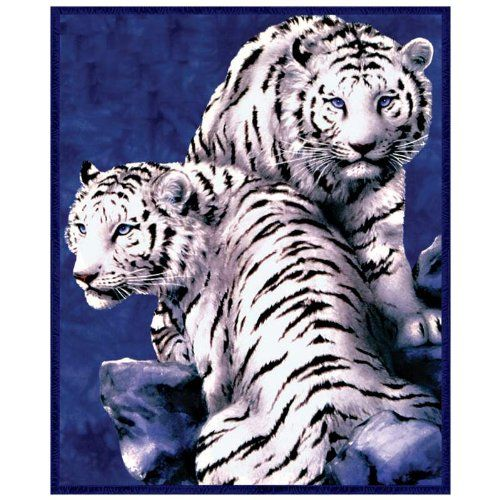 Soft Double White Tigers Animal Print Blanket~~queen or King $39.90