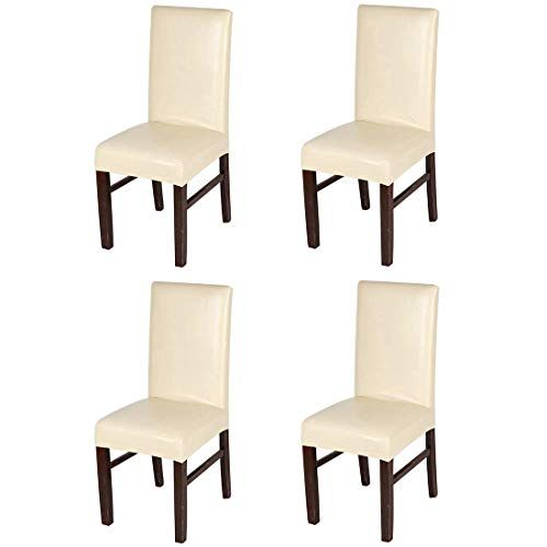 Yuena Care 4pack Dining Chair Covers Waterproof Faux Leather Chair Slipcover Washable Romovab Slipcovers For Chairs Dining Chairs Dining Chair Covers