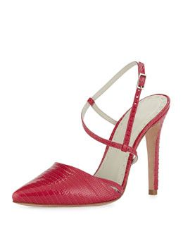 X21QX Alice + Olivia Davey Lizard-Embossed Pump, Hot Pink