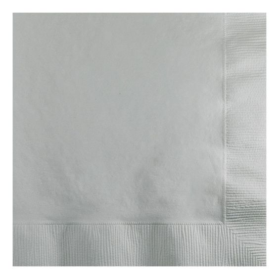 2 Ply Beverage Napkins Bulk Shimmering Silver/Case of 1200