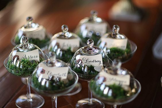 Botanical place cards and glass favor.: