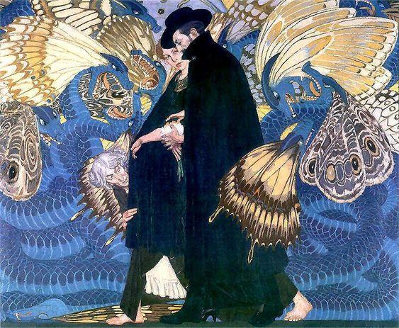 'The War and Us' (La Guerra y nosotros), Edward Okuń. Óleo sobre lienzo. (1917-1923) Art nouveau, simbolismo y un aire del medievo