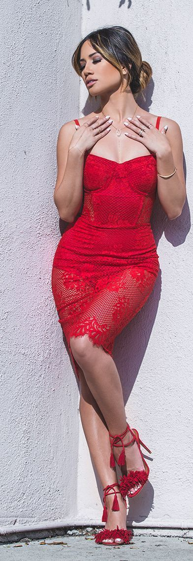 Shop this look on Lookastic:  https://lookastic.com/women/looks/red-lace-bodycon-dress-red-fringe-suede-heeled-sandals/15200  — Red Lace Bodycon Dress  — Red Fringe Suede Heeled Sandals:
