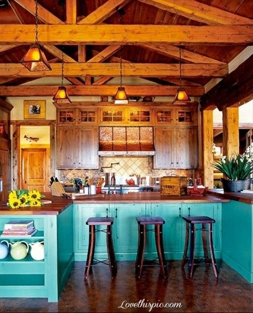 Beautiful Turquoise Kitchen Blue Home Wood Kitchen Rustic