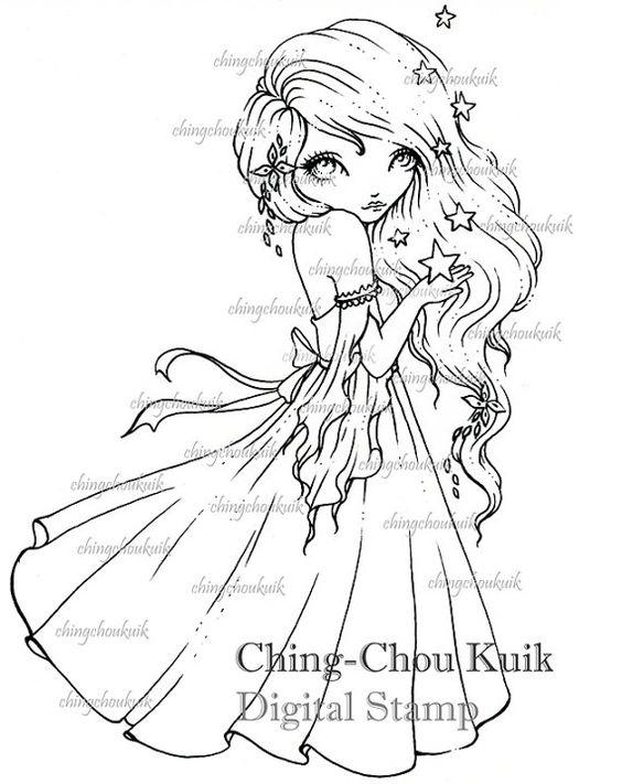 Wishing Stars - Digital Stamp Instant Download / Wish Falling Star Lil Sweetie Mia by Ching-Chou Kuik