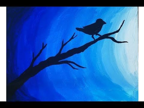 Easy Poster Color Painting On Canvas Bird In Moonlight
