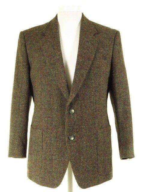 Green Flecked Harris Tweed Jacket W Patch Pockets 43s Tweedmans Harris Tweed Jacket Jackets Vintage Clothing Men