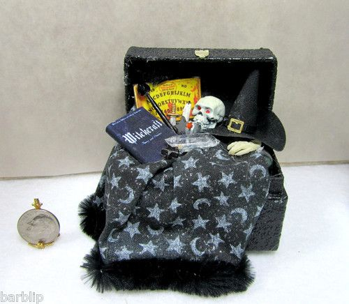 Haunted Dollhouse Miniature Filled Witch Trunk