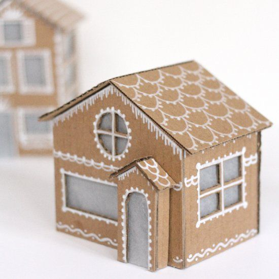 Make Your Adorable Little Gingerbread Houses Out Of Cardboard, They Even  Light Up!
