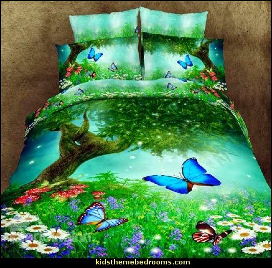 Forest themes bedding and forest theme bedrooms on pinterest for Fairy forest mural